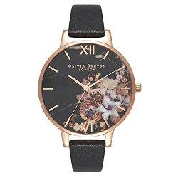 画像1: オリビアバートン OLIVIA BURTON 腕時計 38mm 花柄 フラワー ローズゴールド ブラック レザー OB16CS01