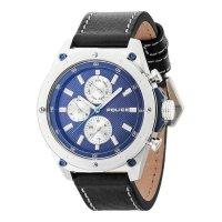 POLICE ポリス コンタクト マルチファンクション 腕時計 PL.14537JS/03A メンズ ブルー文字盤 ブラック レザー 腕時計