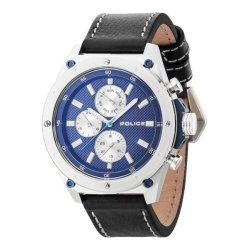 画像1: POLICE ポリス コンタクト マルチファンクション 腕時計 PL.14537JS/03A メンズ ブルー文字盤 ブラック レザー 腕時計