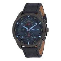 POLICE ポリス 腕時計 マルチファクション PL.14836JSU/02 メンズ ダークブルー文字盤 ブラックレザー 腕時計