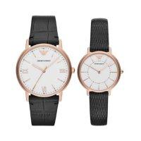 エンポリオアルマーニ ペアウォッチ KAPPA カッパ ホワイト文字盤 ブラック レザー AR80015 腕時計