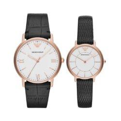 画像1: エンポリオアルマーニ ペアウォッチ KAPPA カッパ ホワイト文字盤 ブラック レザー AR80015 腕時計