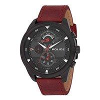 POLICE ポリス 腕時計 マルチファクション PL.14836JSB/02 メンズ ブラック文字盤 バーガンディ レザー 腕時計